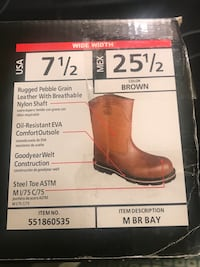 STEEL TOE WORK BOOTS  - BRAND NEW IN THE BOX  - SIZE 13 WIDE - $45.00