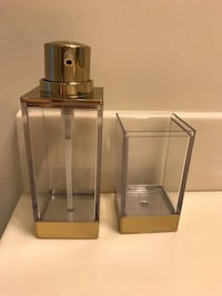 Gold/Clear Soap dispenser and Toothbrush Holder Vienna, 22180
