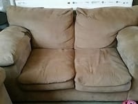 brown padded loveseat