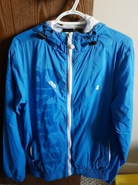blue zip hooded windbreaker Edmonton, T6L 5N6