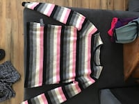black, pink, and white stripe long sleeve shirt Rogers, 72758