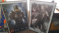 two brown wooden frame Halo 4 and Assassins Creed posters Whitchurch-Stouffville, L4A 0R4