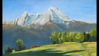 painting of mountain surrounded with green trees