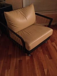 brown wooden framed brown padded armchair Mississauga, L5B 4G7