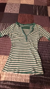 White and green striped polo shirt 49 mi