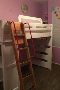 Twin Loft Bed and Desk (face in or out) & Ladder w Handrails OBO