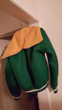 green and yellow letterman hooded jacket