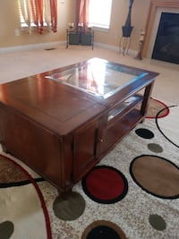 brown wooden framed glass top coffee table HAMILTON