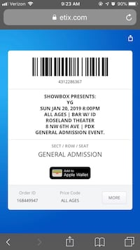 YG concert tickets Vancouver, 98683