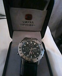 round silver-colored chronograph watch with black leather strap Des Moines, 98198