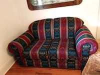 red, blue, and green floral fabric sofa Jumping Branch, 25969