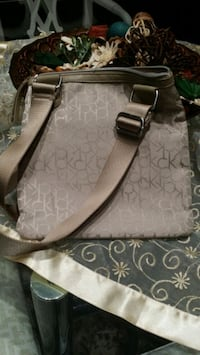 gray and white monogrammed Michael Kors leather tote bag Richmond, V6V 2B2