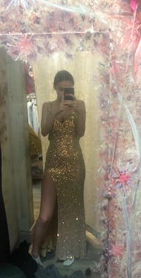 Gold Slim Fit Prom Dress Ajax