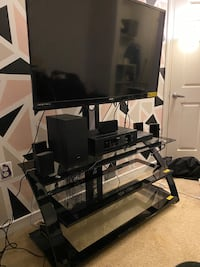 Glass TV mounting stand