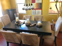 rectangular brown wooden table with six chairs dining set San Diego, 92108