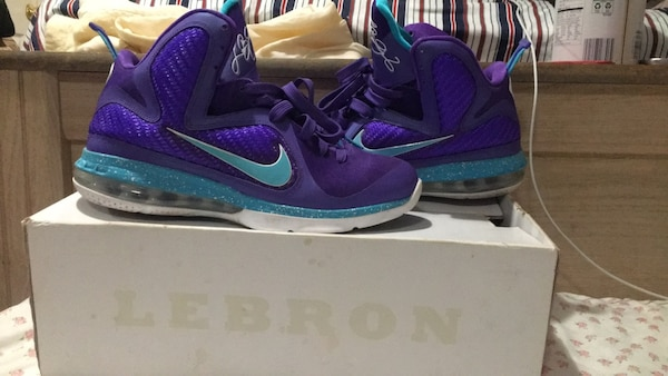 Purple-and-blue nike running shoes