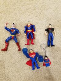Assortment of (5) DC Superhero Superman Action Figures and Keychain Springfield