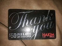 $50 HAKIM Gift card  Cambridge, N1R 6L4