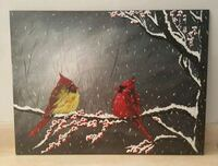 24x18 inches cardinals acrylic painting  Richmond Hill, L4C