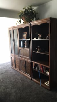 brown wooden framed glass display cabinet Los Angeles, 91040