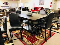 rectangular black wooden table with six chairs dining set Houston, 77080