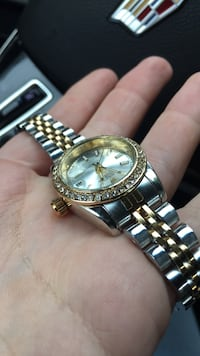 round gold-colored chronograph watch with link bracelet Germantown, 20874