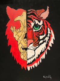 "Acrylic tiger/skull 16""x20"" painting  Vancouver, V5L 1J6"
