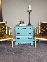 Antiqued Chic Blue Nightstand