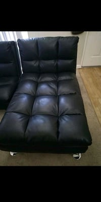Vienna Black Leather Euro Lounger Chaise. Sunnyvale, 94086