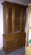2pc oak hutch with lights