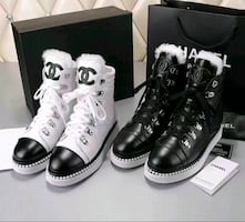 Chanel boots with fur