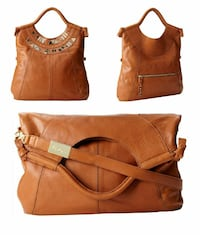 women's brown leather 2-way bag collage