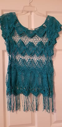 Women's Turquoise Crocheted Blouse  Austin