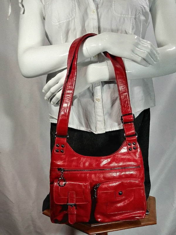 red and white leather shoulder bag