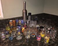 Collectible Shot Glasses Barware Over 60 pieces + Chopin Cocktail Shaker Crystal Lake, 60012
