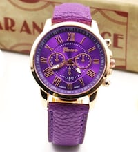 round silver-colored chronograph watch with purple leather strap Providence, 02906