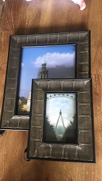 two grey photo frames