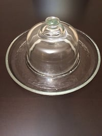 Plate and Lid Glass Textured Large Solid Surrey
