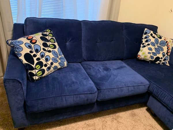 Incredible Blue Velvet Couch With Chaise Onthecornerstone Fun Painted Chair Ideas Images Onthecornerstoneorg