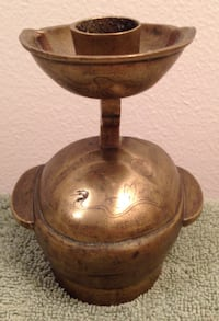 Vintage Chinese Metal Brass Candle Holder Madison, 53704
