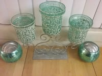 four green-and-clear glass vases Temple Hills, 20748
