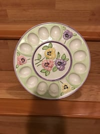 white and green floral ceramic plate Edmonton, T5A 4A5