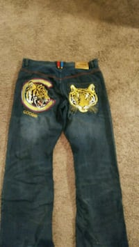 blue and yellow denim jeans Columbus