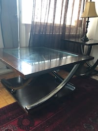 black and gray metal framed glass top table Montréal, H4A
