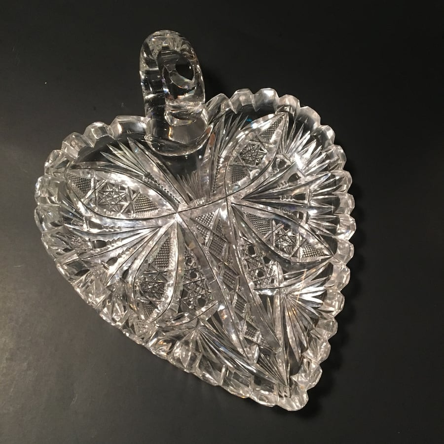 Heart-Shaped Etched Glass Dish