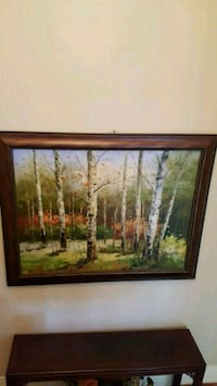 brown wooden framed painting of trees Toronto, M3H 1W1