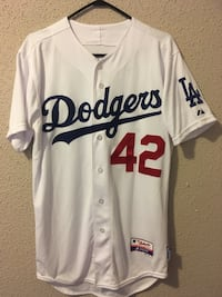 Jackie Robinson jersey and Dodgers hats + T-shirt