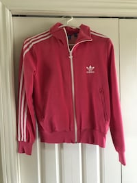 Pink and white adidas zip-up jacket, size Medium women's , N0A