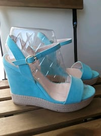 Suede turquoise sandals