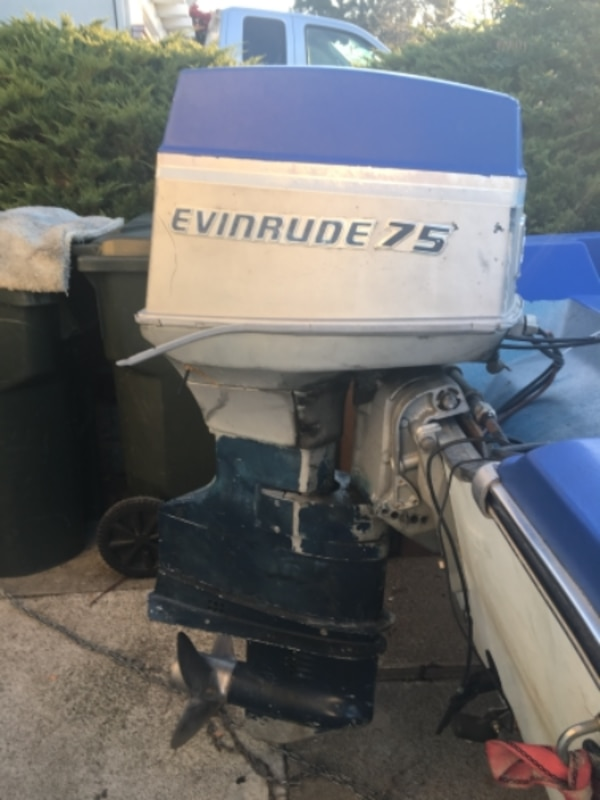 white and blue Evinrude 75 outboard motor